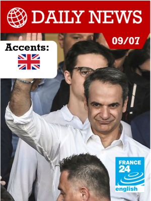 """Grèce : la droite de Mitsotakis triomphe et promet de """"rendre sa fierté"""" au pays"""